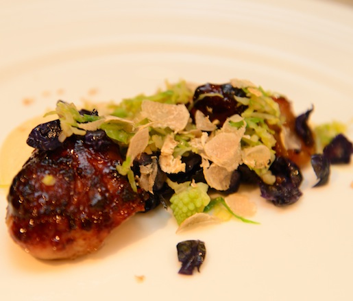 Apple General Tso–Glazed Sweetbreads with Turnip Hash, White Truffles, Celery Root, and Chestnuts