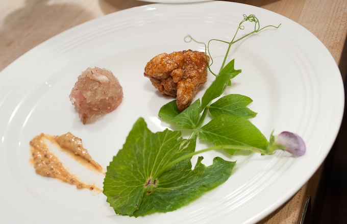 General Tso's Sweetbreads with Ham Jam, Hot Mustard, and Pea Shoots