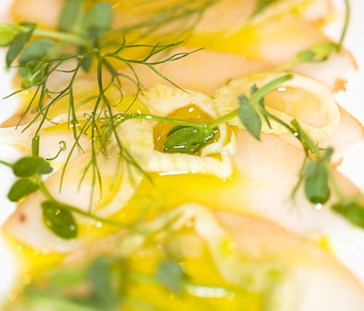 Smoked Swordfish with Marinated Fennel, California Olive Oil, and Micro-Pea Tendrils