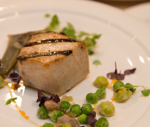 Roasted Line-Caught Swordfish with Artichokes, Ramps, Romano Beans, English Peas, and Heirloom Cannellini Bean Purée