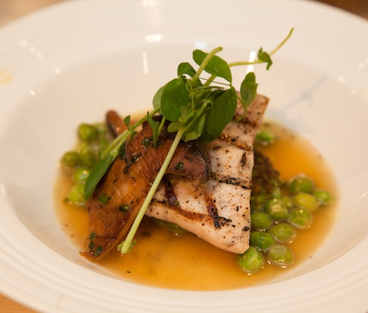 Pacific Swordfish with Spring Peas, Royal Trumpet Mushrooms, and Spring Onion Broth