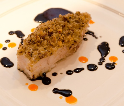 Swordfish Steak with Wild Mushroom Crust and Red Wine–Squid Ink Sauce