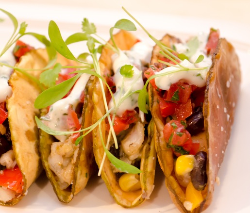 Key West Yellowtail–Breadfruit Tacos with Black Bean Coulis, Sweet Corn Salsa, and Pico de Gallo
