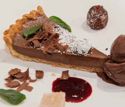 Caramel–Port Wine Tart with Cocoa Nibs Ice Cream