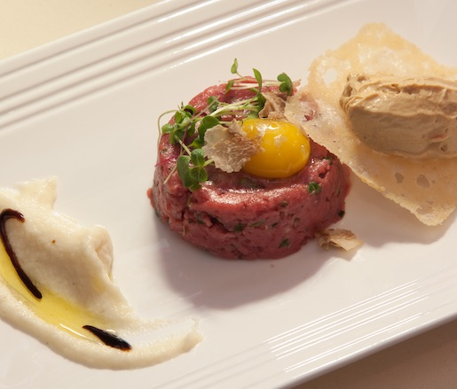 Classic Piemonte Fassone Beef Tartare with Goose Liver and Shaved White Truffles