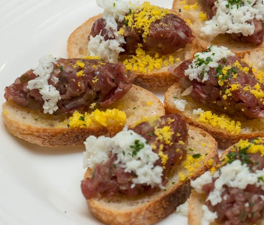 Baucom's Best Grass-Fed Beef Tartare Crostini