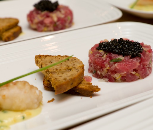 Tuna Tartare with Preserved Lemon, Crispy Lobster, Walnut Toast, and Aïoli