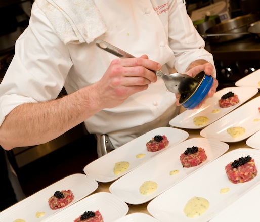 Plating in the Beard House kitchen