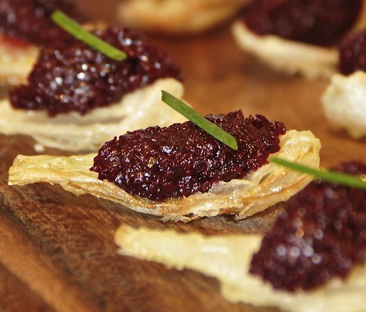 Beet Tartare on Tempura Onion Petals