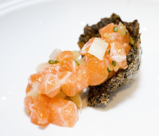 Ocean Trout Tartare with Cucumbers, Sorrel, and Zucchini