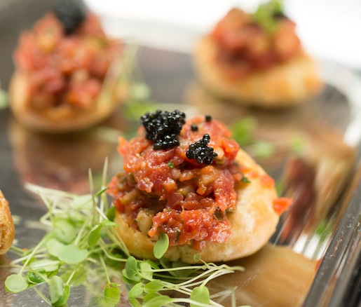 Wagyu Tartare Burgers with American Caviar on Brioche