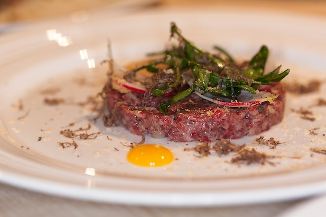 Dry-Aged Beef Tartare with Black Truffles, Turnips, and Sylvetta Arugula