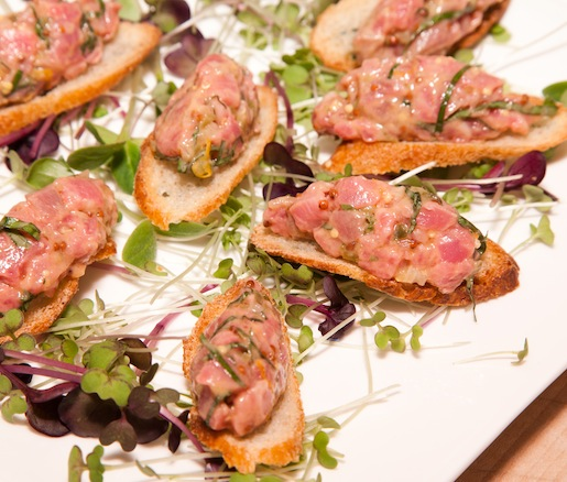Hand-Cut Beef Tartare on Toasts