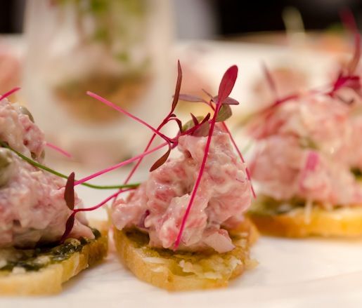 Prime Certified Angus Beef® Tartare with White Truffles on Parmesan Crostini