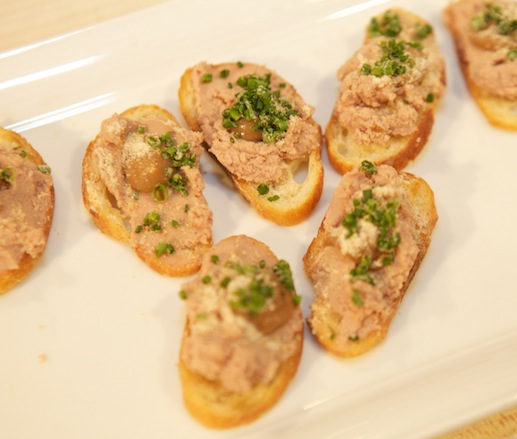 Rabbit Liver Parfait Tartines with Smoked Apple Purée and Candied Chestnuts