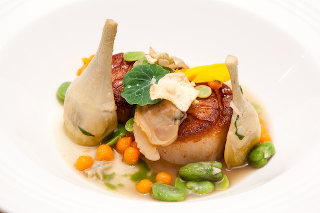 Butter-Poached Tautog with Fava Beans, Littleneck Clams, Bacon, Pistou, and Barigoule