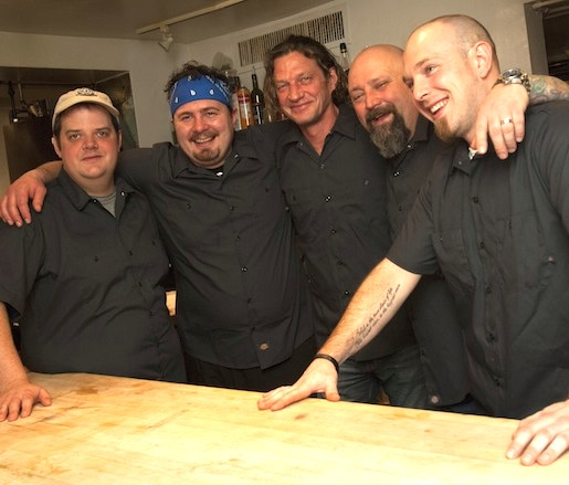 Stephen Browning, Dan Thomas, Terry Moore, Brian Alberg in the Beard House kitchen