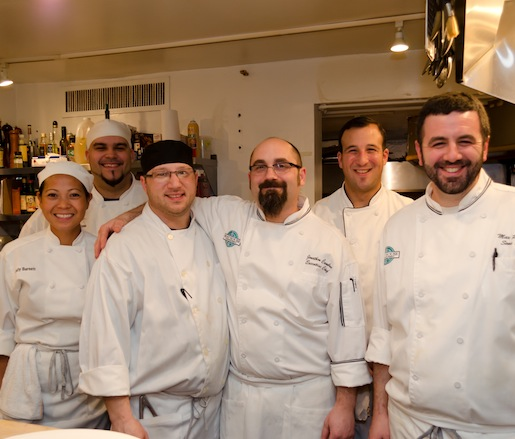 Chef Jonathan Cambra and his team in the Beard House kitchen
