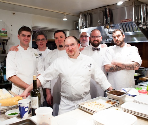 Chef Adam Siegel and his team in the Beard House kitchen