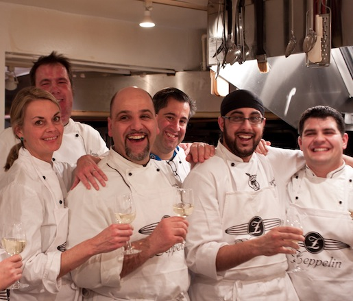 Lorenzo Polegri, Kim Brookmire, and members of their team in the Beard House kitchen