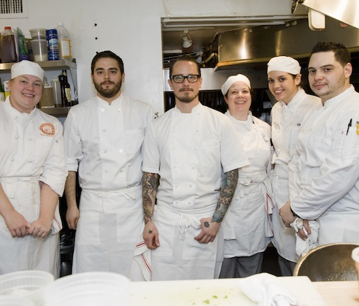 Chef Ian Kapitan and his team at the Beard House kitchen