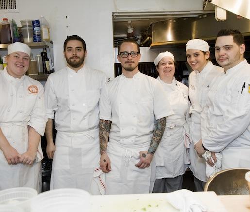Chef Ian Kapitan and his team at the Beard House kitchen