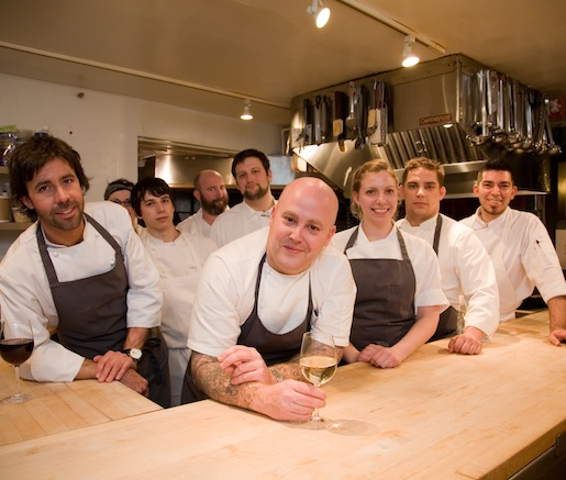 Chef Tyler Anderson and his team in the Beard House kitchen