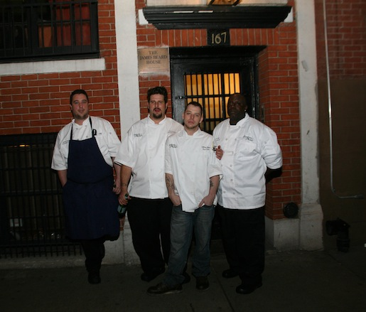 Chef Daniel Doyle with members of his team outside the Beard House