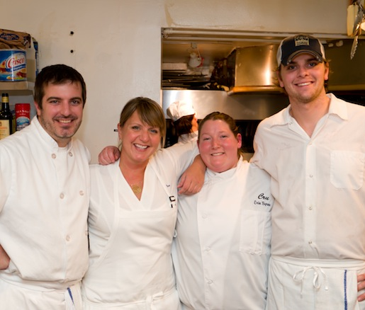 Chef Erin Ziercher with members of her team in the Beard House kitchen