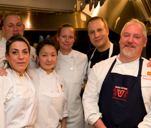 Chef Patrick Feury with members of his team in the Beard House kitchen