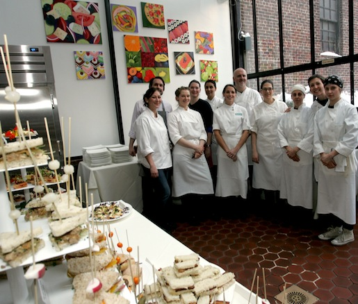 Jeremy Meyers, Kierin Baldwin, Tracy Obolsky, Ghaya Oliveira, Ilene Rosen, Katy Sparks, and Keren Weiner with members of their team at the Beard House