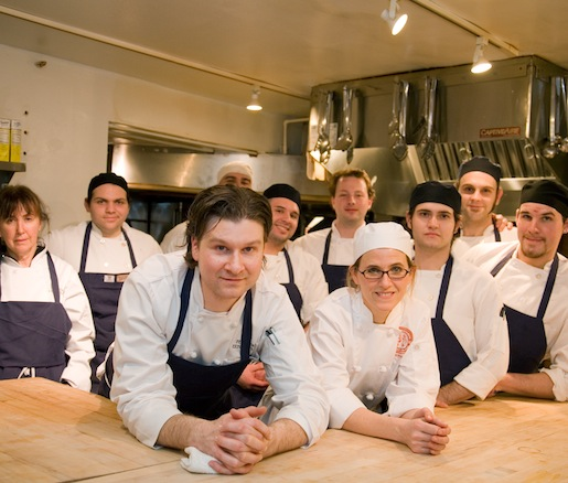 Chef Peter Turso with members of his team in the Beard House kitchen