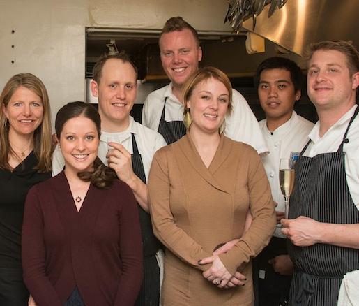 Annie Favia-Erickson, Tyler Rodde, and Curtis Di Fede with members of their team at the Beard House