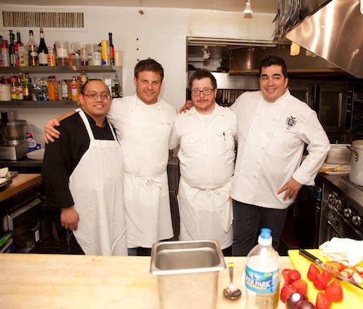 Chef Jose Garces with members of his team in the Beard House kitchen