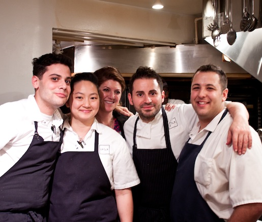 Chef Matthew Accarino and wine director Shelley Lindgren with members of their team in the Beard House kitchen