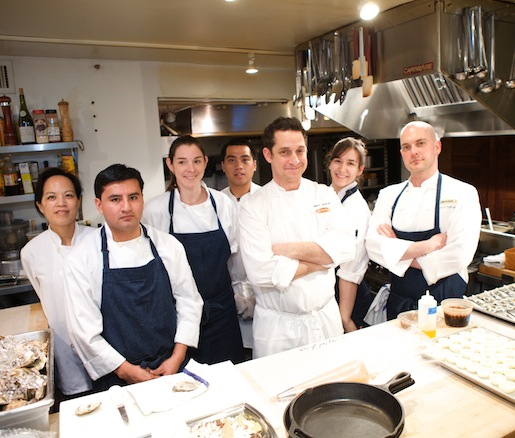 Chefs Jason Weiner and David Belknap with members of their team in the Beard House kitchen
