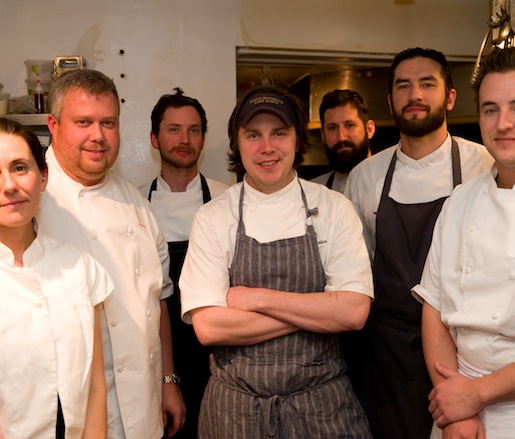 Taria Camerino, Ford Fry, Drew Belline, Joe Schafer, and Adam Evans with members of their team in the Beard House kitchen