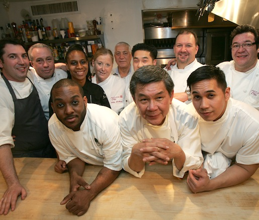 Rocco Lugrine, Kristol Bryant, Kiong Banh, Keith Mitchell, and Philippe Chin with members of their team in the Beard House kitchen
