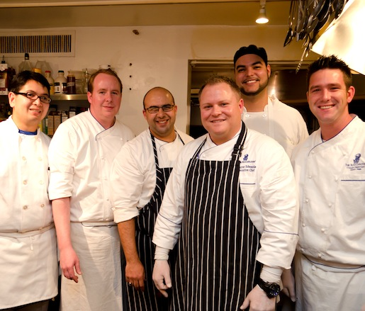 Chef Dwayne Edwards with members of his team in the Beard House kitchen