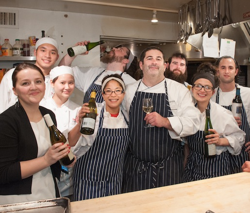 Chef Jay Caputo with members of his team in the Beard House kitchen