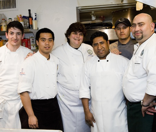 Chef Jamie Leeds with members of her team in the Beard House kitchen