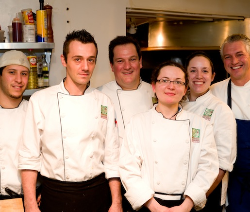 Chef Bernard Bouissou with members of his team in the Beard House kitchen