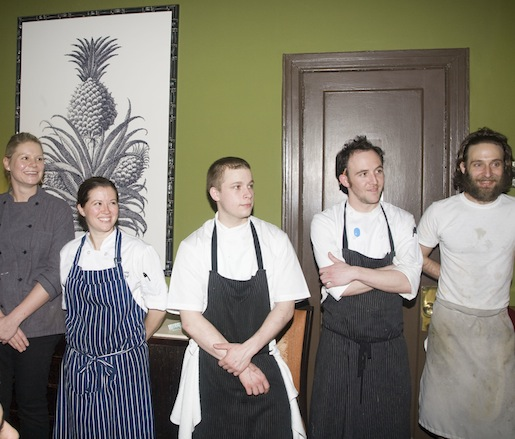 Sean McPaul and Josh Behm with members of their team at the Beard House
