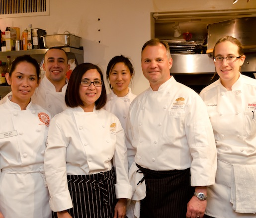 Chef Adam Mali with members of his team at the Mandarin Oriental