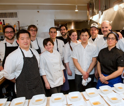 Noah Bernamoff, Jeffrey Yoskowitz, Jake Dickson, David Shuttenberg, Mitchell Davis, and Liz Alpern with members of their team in the Beard House kitchen