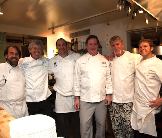 Irv Miller, Gus Silvos, Frank Taylor, Jim Shirley, and Dan Dunn with members of their team at the Beard House
