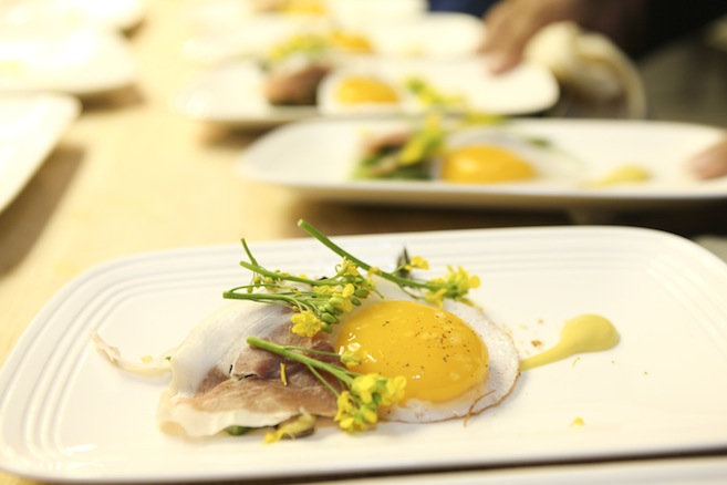 Grilled Asparagus with House-Cured Prosciutto, Roasted Mushrooms, Fried Duck Egg, Brioche, and Champagne Vinaigrette