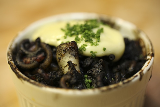 Fideus > Toasted Noodles with Bay Scallops, Squid, Italian Sausage, and Squid Ink Vinaigrette