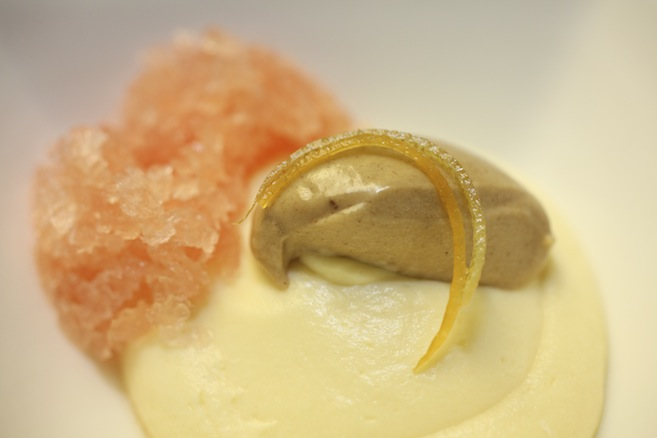 White Chocolate with Ruby Red Grapefruit and Praline