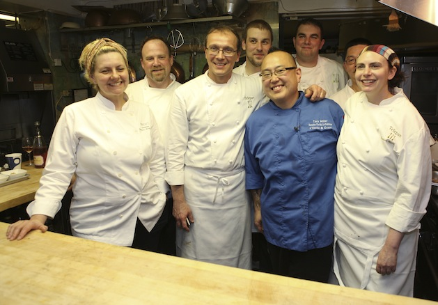 Chefs Bill Telepan, Chris DiMinno, Josh Lawler, Tory Miller, Mitchell SuDock, Heather Carlucci-Rodriguez, and Larissa Raphael in the Beard House kitchen